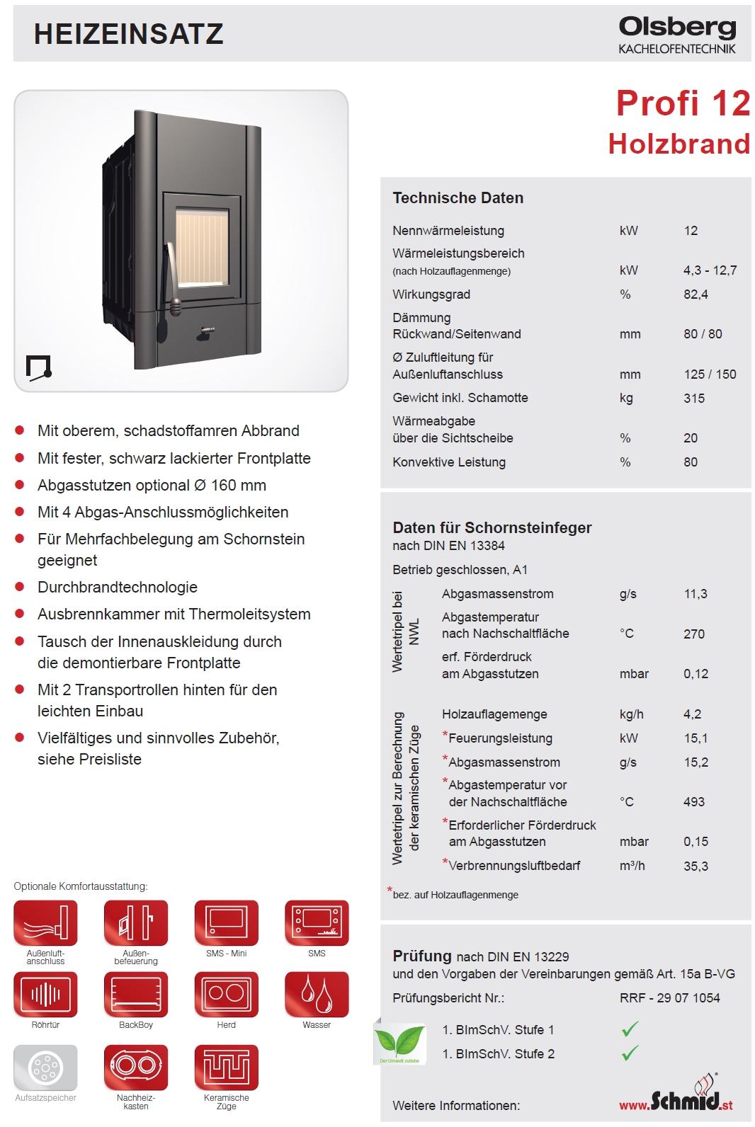 olsberg kachelofeneinsatz profi 12 kw kamineinsatz. Black Bedroom Furniture Sets. Home Design Ideas