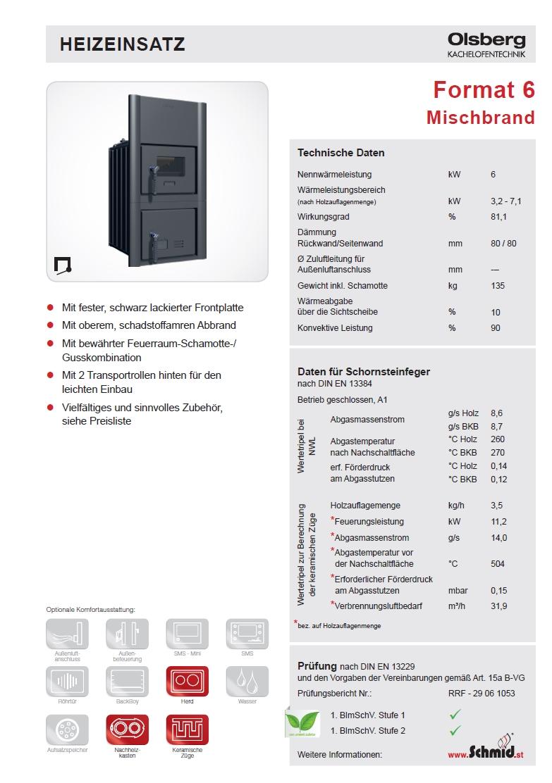 kachelofeneinsatz format 6 kw kamineinsatz. Black Bedroom Furniture Sets. Home Design Ideas